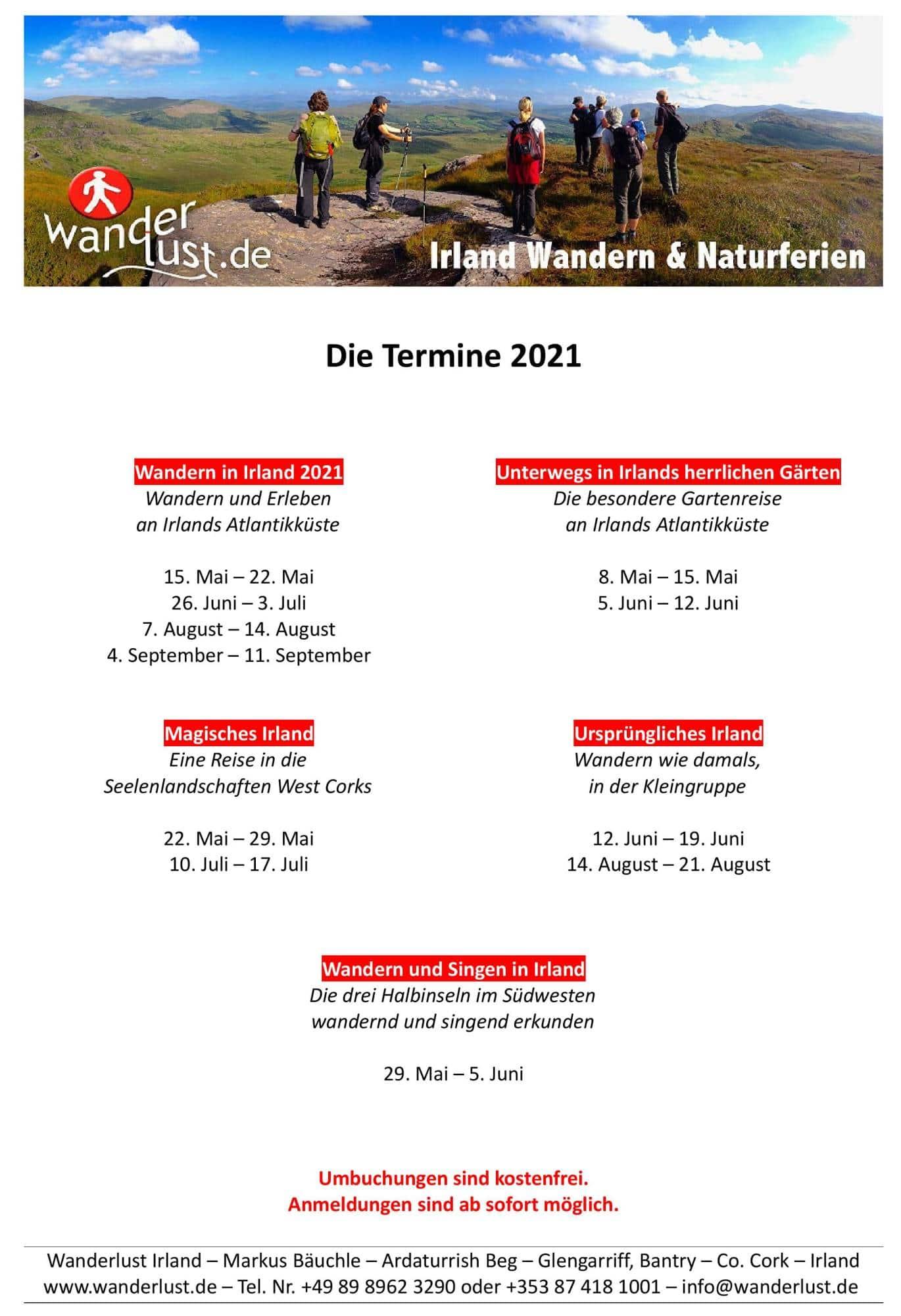 Wanderlust Irland Termine 2021